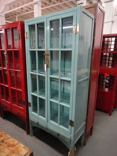 Asian Inspired China Cabinet Robin's Egg Blue Los Angeles by housecandyla, $1600.00