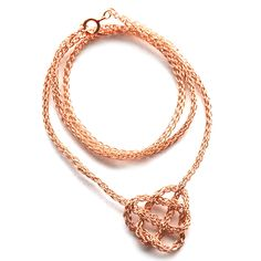 Rose Gold necklace Celtic heart knot