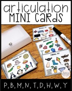 Articulation mini cards for early sounds are great for the traveling SLP! Each card contains 10 targets. All cards are picture supported for  non-readers. Sounds include: p, b, m, n, t, d, h, w, y.  Because the cards are small and compact, there is less table clutter during group speech therapy sessions. This is a must have resource for your speech room or speech bag! Click here to see more!
