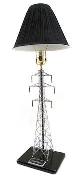 This awesome transmission line tower lamp includes the engraving plate, your text and shipping! Order early! Takes 2-3 weeks for delivery.