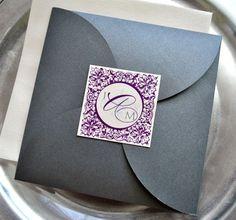 Paris Pouchette Wedding Invitation Suite Purple and by lvandy27
