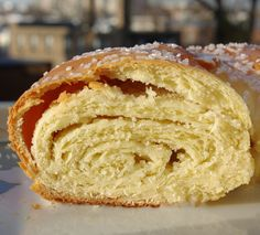 A slice of Rosca de Reyes, made with an almondy French twist.