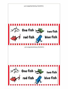 6 Best Images of Red Fish Blue Fish Printables - One Fish Two Fish Printables, One Fish Two Fish Kindergarten and Dr. Seuss One Fish Two Fish Printables Dr. Seuss, Dr Seuss Week, Dr Seuss Snacks, Dr Seuss Activities, Dr Seuss Classroom Treats, Preschool Snacks, Preschool Ideas, Red Fish Blue Fish, One Fish Two Fish