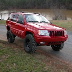 Lifted RED Jeep WJ- oh here we go! This is what ruby would've looked liked :'( Jeep Wj, Jeep Dodge, Jeep Truck, Nissan Trucks, Chevrolet Trucks, Ford Trucks, Red Jeep, Jeep Brand, Jeep Grand Cherokee Limited