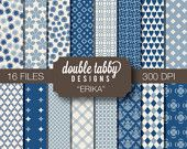 Digital Paper Pack Instant Download - navy blue, ivory, tan, printable DIY scrapbook personal and commercial use - ERIKA