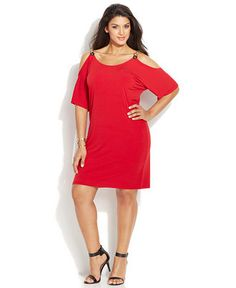 d9de9e5e1c0 MICHAEL Michael Kors Plus Size Cold-Shoulder Dress - Dresses - Plus Sizes -  Macy s