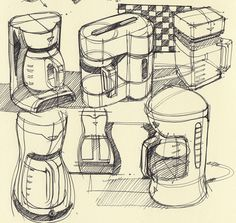Breville - Coffee Express - Personal Filter Coffee Machine 1 Bottle Capacity Black 1 Year Warranty Product Features Swap your daily coffee shop visit for Line Sketch, Sketch A Day, Id Design, Sketch Design, Sketch Inspiration, Design Inspiration, Sketch Ideas, Coffee Machine Design, Coffee Doodle