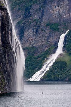 Waterfalls in Geirangerfjord, Norway