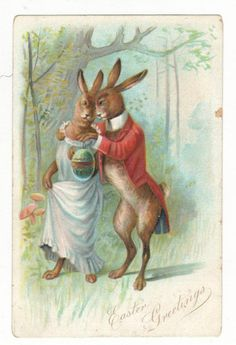Easter Greetings Dressed Rabbit Couple Antique Postcard N2485