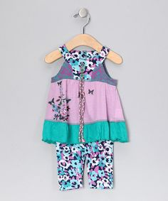Take a look at this Purple Butterfly Ruffle Top & Pants - Infant by Baby Sara on #zulily today!