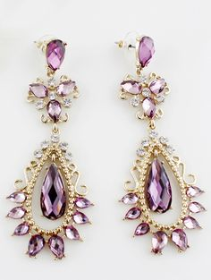 Purple Gemstone Gold Drop Earrings
