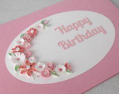 Artículos similares a Papel quilling flores quilled, tarjetas, hecha a mano en Etsy