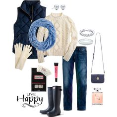 blue stripe scarf, white cable sweater, navy vest, jeans, and hunter boots