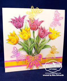 Rita Edwards made this stunning card using the Elizabeth Craft Designs Tulip Peel-off stickers. She also used the 798 Four Bows and the 713 Small Butterfly dies. Visit Rita's blog for step by step instructions.  https://ritaedwardsdesign.wordpress.com/2014/05/07/tulips/
