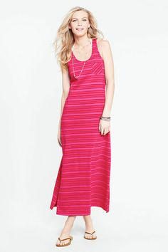 03576c95ceb29e Women s Sleeveless Cotton Jersey Skye Stripe Scoopneck Cover-up Maxi Dress  from Lands  End
