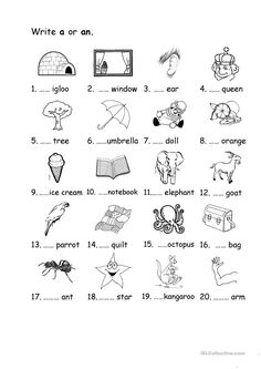 a/an worksheet - Free ESL printable worksheets made by teachers English Worksheets For Kindergarten, English Grammar Worksheets, Grammar Lessons, Kindergarten Worksheets, English Vocabulary, English Grammar For Kids, Primary English, Teaching English, English Lessons
