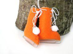 Ice Skates Felt Christmas Ornament Orange Vintage by ArtfulEnds, $12.00