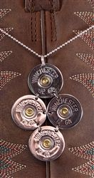 "Shotgun Shell Necklace - 12 GA Winchester Silver Tori on 16"" Sterling Silver Chain by Spent Rounds Designs; Shotgun Shell Jewelry 