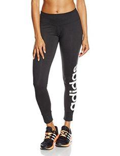 adidas Ess Lineartight - Mallas para mujer, color negro / blanco, talla M
