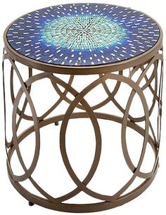 Features:  -Set includes 2 tables.  Shape: -Oval.  Design: -Drum.  Style: -Traditional/Bohemian.  Top Finish: -Puple.  Base Material: -Metal.  Base Finish: -Multi.  Base Type: -Sled. Dimensions:  Over