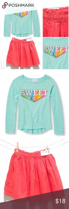 """""""As Sweet As Candy"""" Outfit: Tee & Corduroy Skirt OshKosh Corduroy Skirt   & Children's Place Sweater Knit Top  Made of 58% cotton/42% polyester jersey in a lightweight sweater knit  Raglan seams  Embellished glittery graphic at front  Curved hem i"""