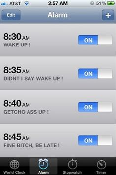 should do this w/my alarm!  What makes this really funny is that I DO have 5 alarms set up in the morning.  They don't exactly say THAT though.