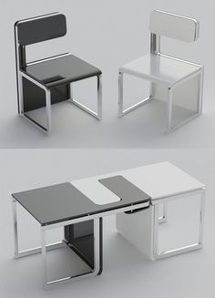 Sensei Chair/Table Set designed by Claudio Sibille. For small-apartment owners, the space-saving and multifunctional furniture sets are always welcomed, and on their lists there's Claudio Sibille's Sensei. The furniture set includes two chairs that could be used separately; but when you flip the chairs on their sides and piece them together, they would then serve as a table.