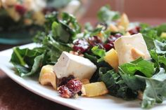 Kale Salad with Cherries, Brie and Sweet Potatoes Doesn't sound exactly dietetic but mighty tasty. Not sure about the sweet potatoes and I might use my old standby, feta instead of Brie, but I love the idea of tart dried cherries and nuts in a salad.