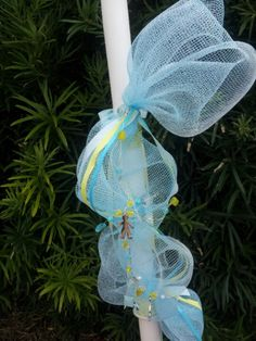 Baptismal candle baby blue and yellow
