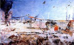 Tsuguharu Fujita - Burning of Nanchang Airfield Burns, Fine Art, Art Prints, Painting, World War Two, Country, Art, Art Impressions, Painting Art