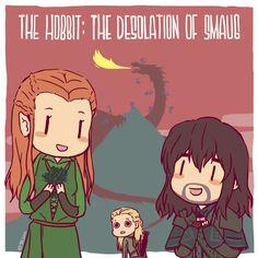 Tauriel and Kili....oh, and Legolas