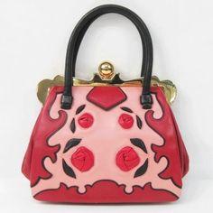 Auth MIUMIU Handbag Rose motif Sheepskin Pink×Red 119630 #MIUMIU #Handbag
