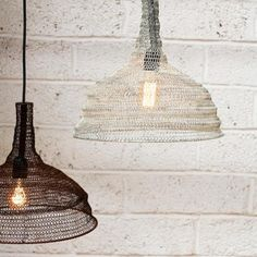 We think these stylish Conical wire pendant lampshades work perfectly as a…