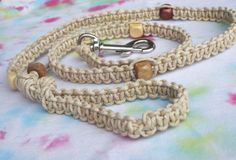 Macrame thick hemp dog leash with wooden beads.