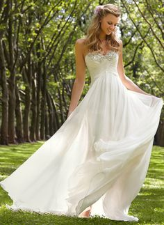 Empire Strapless Sweetheart Sweep Train Chiffon Wedding Dress With Ruffle Beading (0025058300)