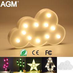 AGM Облака Фламинго Кактус Свет в Ночь Знак 3D Звезды шатер Рисунок Батарейках Luminaria Настольная Лампа Для Детей Подарок декор