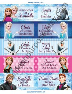 Frozen Birthday Party Food Tags by lifeonpurpose on Etsy, $5.00