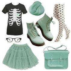 Pastel Green Creepy Cute