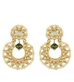 Green Bead Kundan Earring