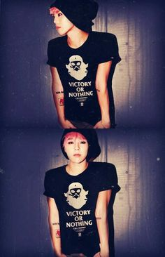 GD, lovin this look on him. Beanie, tats, pink hair, and guyliner? You're too good to me, oppa ❤