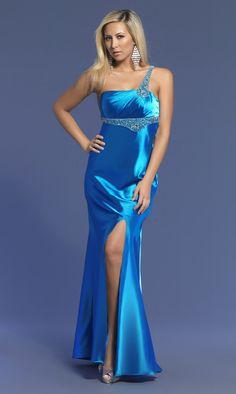 One Shoulder Beading Gorgeous Slit Blue Customized Evening Dress Cheap. Blue Satin Dress, Satin Nightie, Satin Gown, Satin Dresses, Sexy Dresses, Gowns, Formal Dresses, Satin Lingerie, Gala Dresses