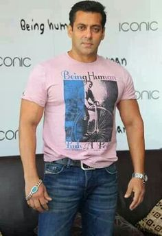 #Salmankhan in Being Human Clothing in Pink T-Shirt #BHC