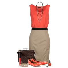 """Beautiful orange and beige dress that would pretty with an orange impression jasper wire wrapped pendant from CareMoreCreations.com """"Contest: Maggie Bags"""" by exxpress on Polyvore"""