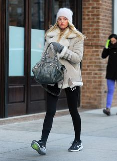 Elsa Hosk Keeps Warm in NYC