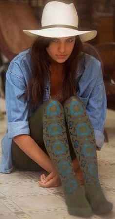 Meia-calça com estampa floral