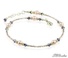 Handcrafted adjustable 10-10 1/2 inch beaded anklet created with mauve shimmer hex seed beads, tanzanite Swarovski Austrian crystals, pink pearl Swarovski crystal-based pearls, bright Bali .925 silver
