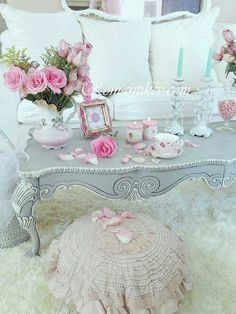 Grey table and pink pillow