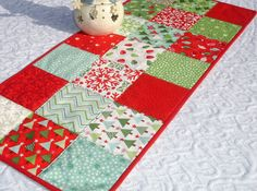 Christmas Table Runner Quilt Red Green White Moda by KeriQuilts, $34.00