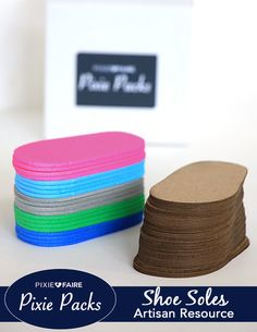 The Shoe Soles Pixie Pack: This Pixie Pack includes a bundle supply of chipboard and foam soles to make shoes for 18 inch dolls using a variety of patterns found at Pixie Faire! What You Get: The Pixi