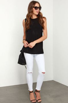 Whether you go laid back with jeans, or sassy with a fitted skirt, we know you'll love The Fifth Label Stay With Me Black Mesh Tank Top! Athletic mesh-inspired muscle tee has a crew neckline. White Jeans Outfit Summer, Summer Outfits, My Black, Black Mesh, Fitted Skirt, Casual Jeans, Outfit Goals, Black Tank Tops, My Style